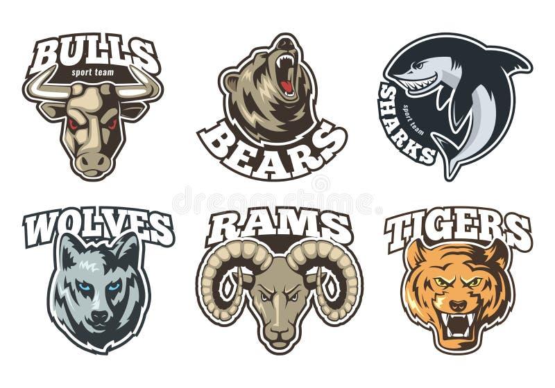 Sportetikettuppsättning med olika djur Företagsmaskotdesign royaltyfri illustrationer