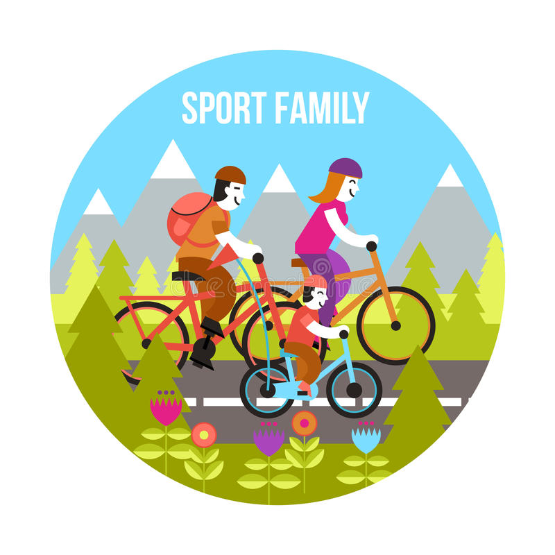 Sportfamiljbegrepp royaltyfri illustrationer