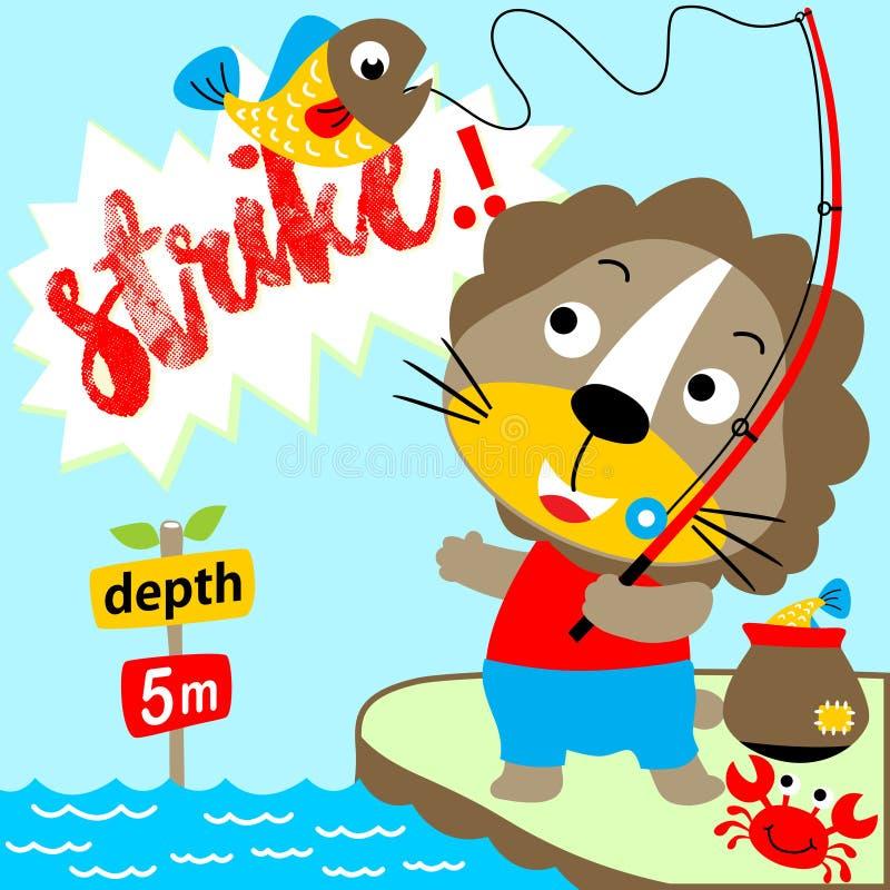 sportfiskarefiskelake nära solnedgångtid till royaltyfri illustrationer