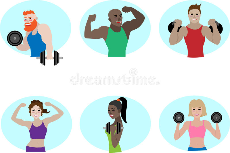Sportfitness powerlifting team vectormensen royalty-vrije stock afbeelding