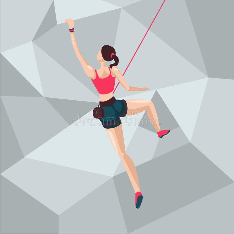 Sportflicka på en klättringvägg Illustration för tecknad filmtecken tillbaka sikt royaltyfri illustrationer