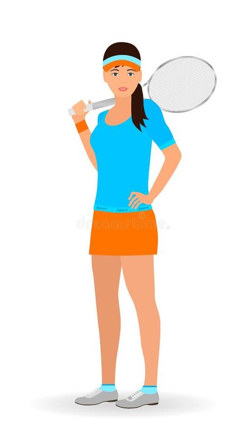 Sportfolkbegrepp Tenniskvinna med racket som isoleras på en vit bakgrund stock illustrationer