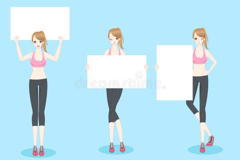 Sportfrauen-Nehmenanschlagtafel vektor abbildung