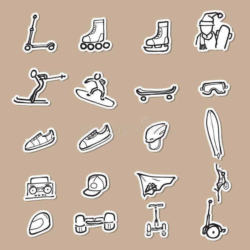 Sportgänge, die Ikonenpapierschnitt zeichnen stock abbildung