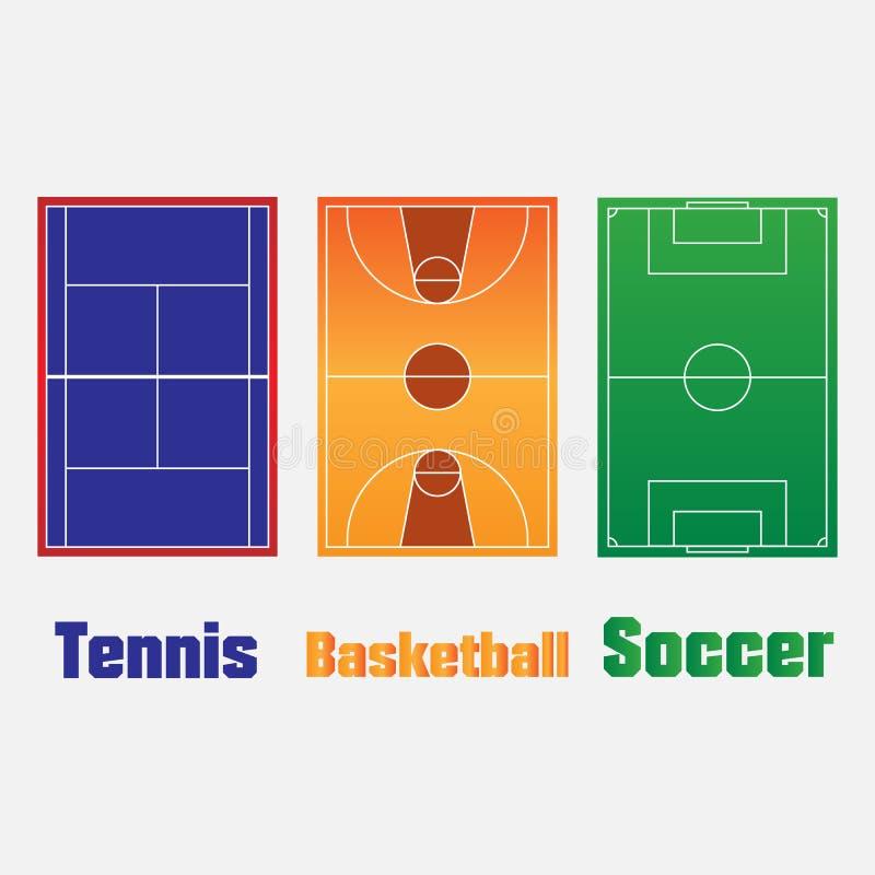 Sportgebied of voetbal, backetball, de achtergrond van het tennisgebied Het vector groene hof voor creeert spel stock illustratie