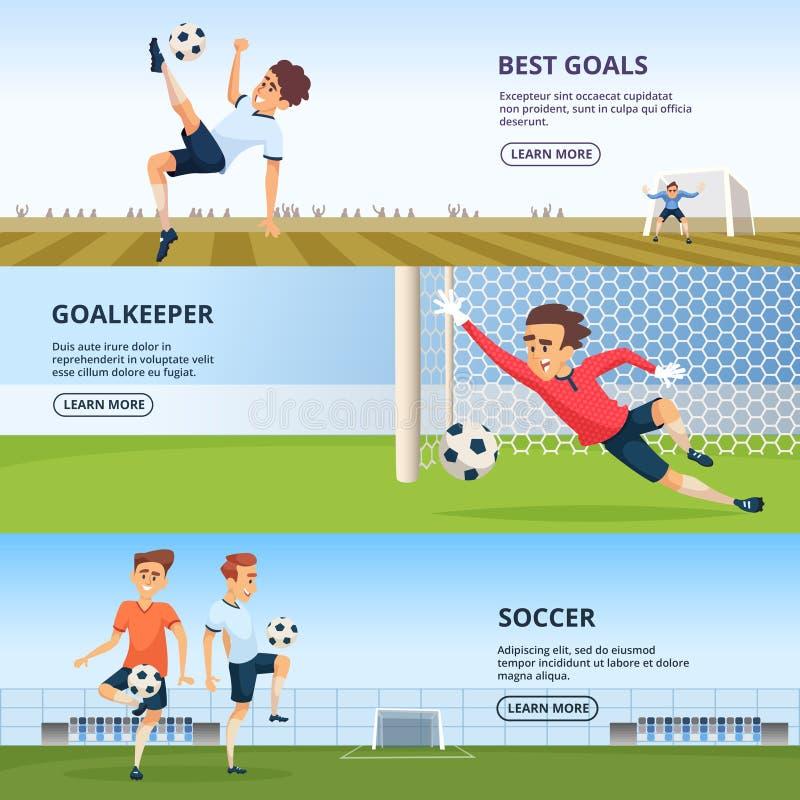 Sporthändelser Fotbolltecken som spelar fotboll Designmall av horisontalbaner royaltyfri illustrationer