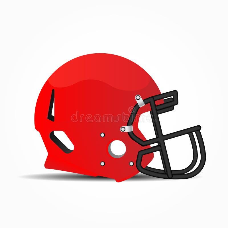 Sporthjälm för amerikansk fotboll Röd och svart maskering som skyddar framsidan i leken Plan illustration Eps 10 stock illustrationer