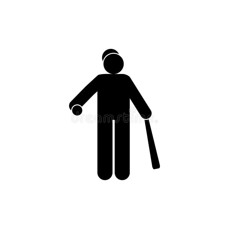 Sportief glyphpictogram van de honkbalmens r De tekens en de symbolen kunnen voor Web, mobiel embleem worden gebruikt, stock illustratie