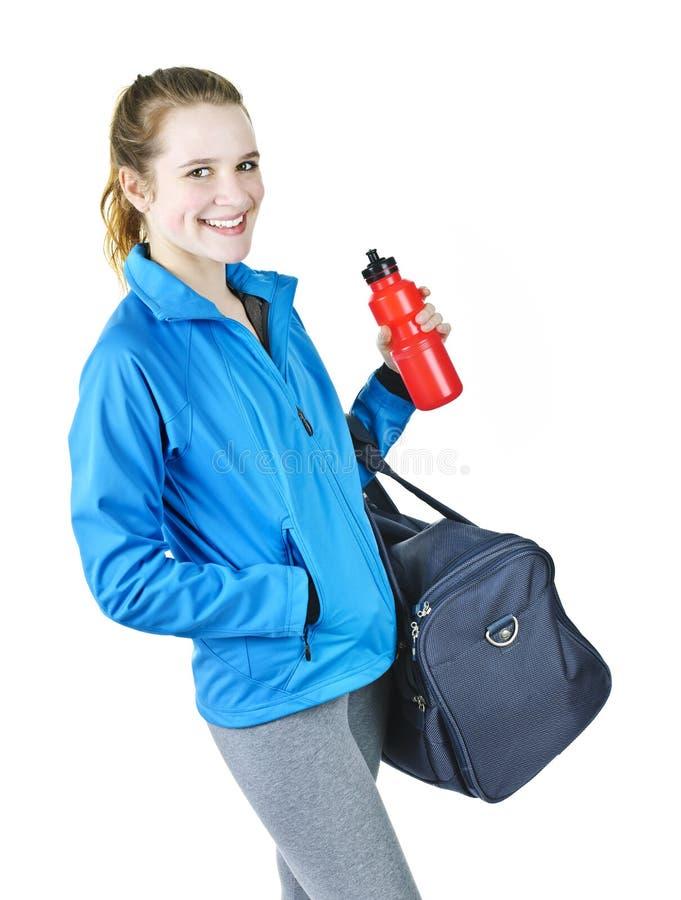 Sportief meisje klaar voor training stock afbeeldingen