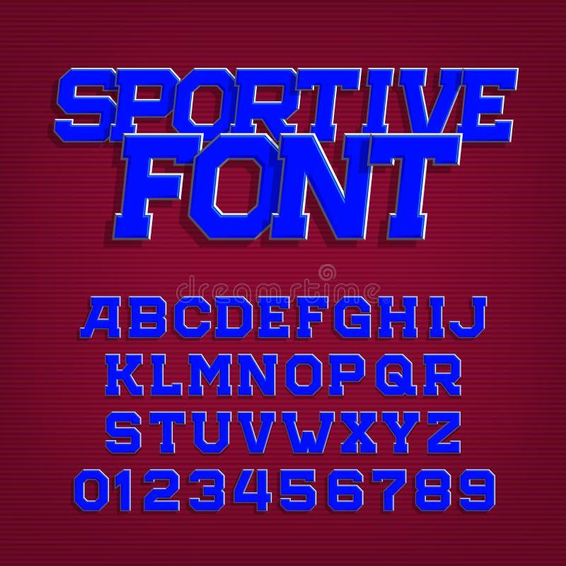 Sportieve alfabet vectordoopvont Retro stijllettersoort voor etiketten, titels, affiches of sportkleding royalty-vrije illustratie