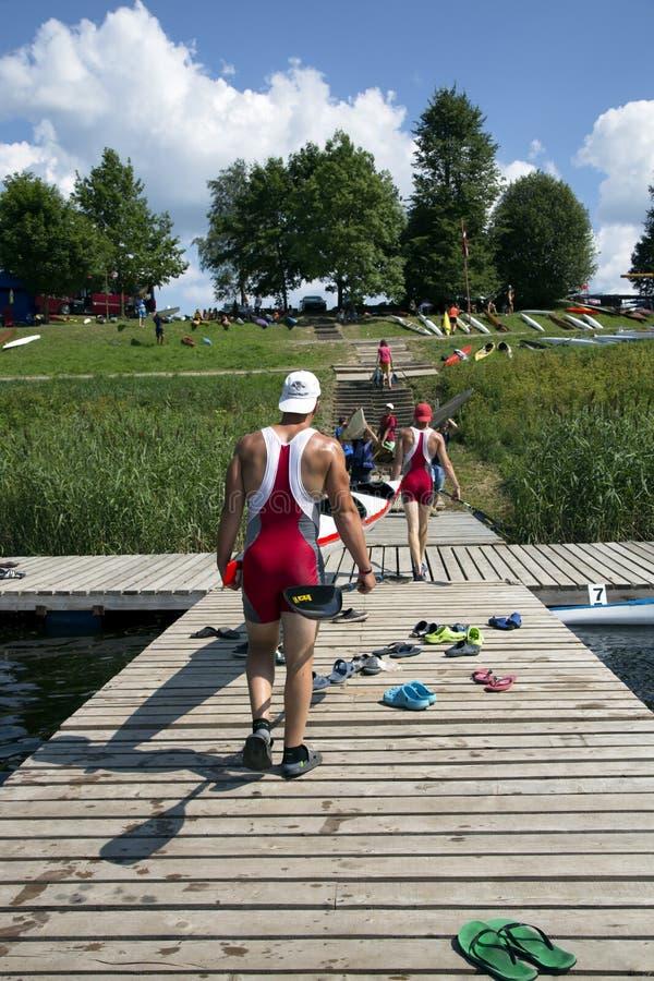 Sportieve competities op kajaks en kano royalty-vrije stock foto
