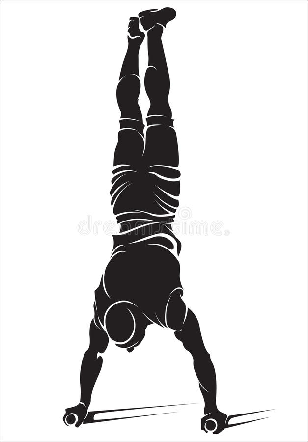 Sportieve mens die de oefening van de straattraining doen handstand stock illustratie