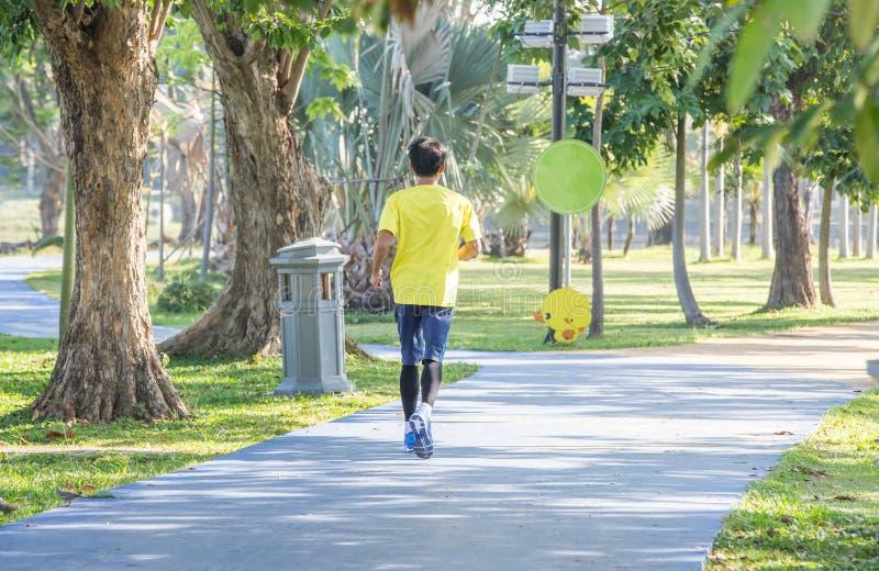 Sportieve mensenjogging of oefening in het schaduwrijke park op vroege ochtend royalty-vrije stock afbeeldingen
