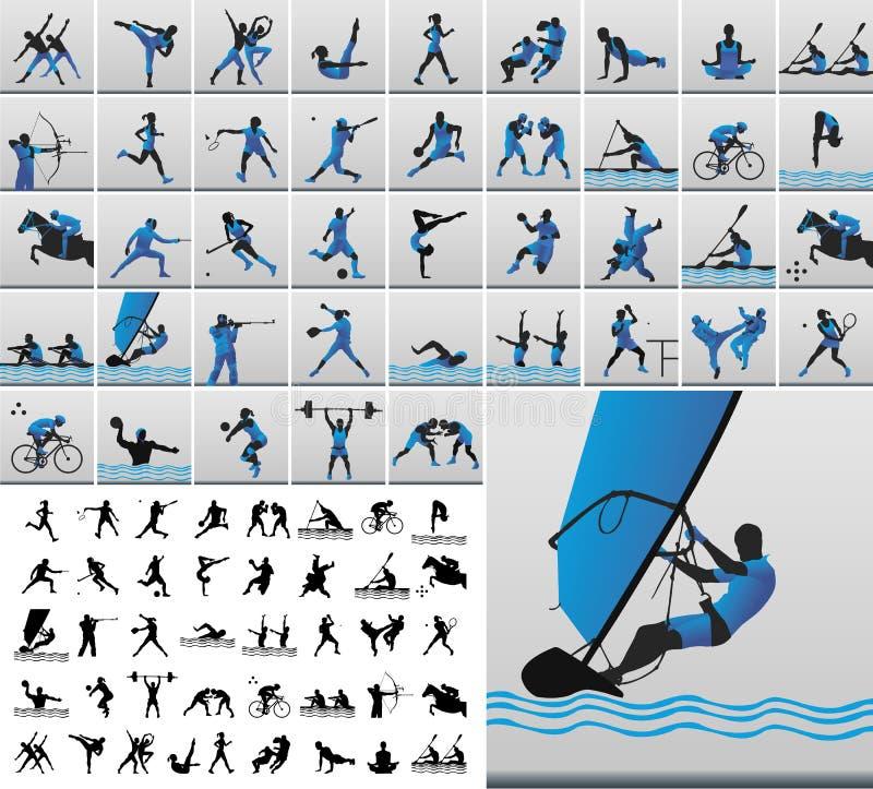 Sportieve pictogrammen stock illustratie