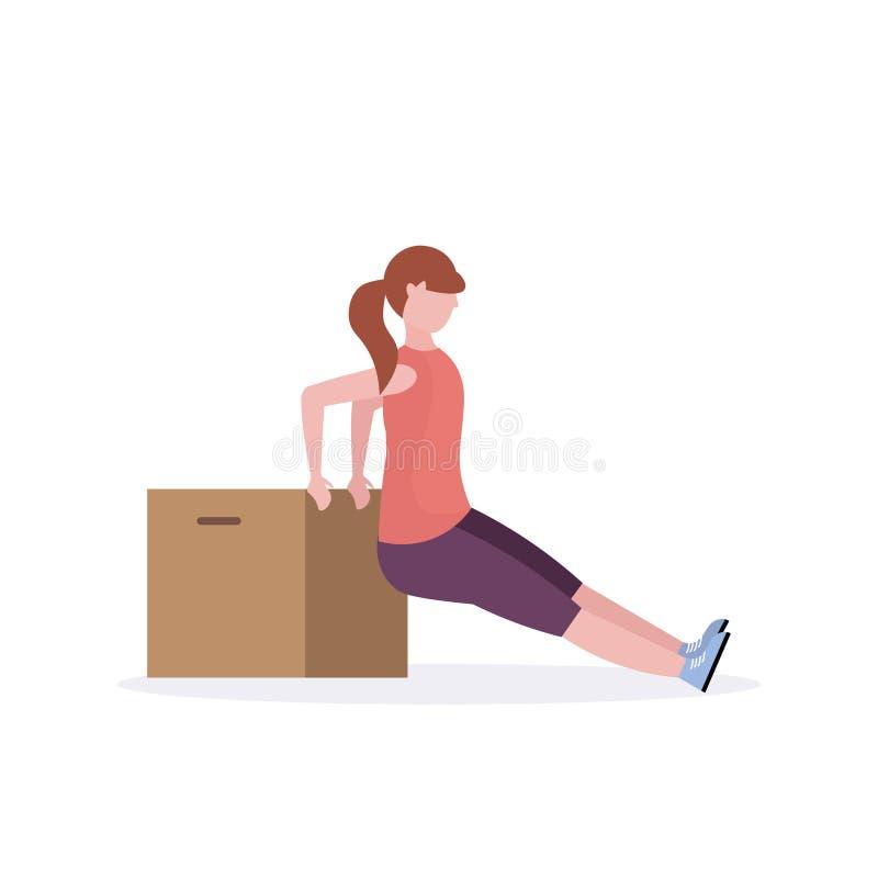Sportieve vrouw die oefeningen met houten doosmeisje opleiding in gezond vlak doen wit de levensstijlconcept van de gymnastiek aë vector illustratie
