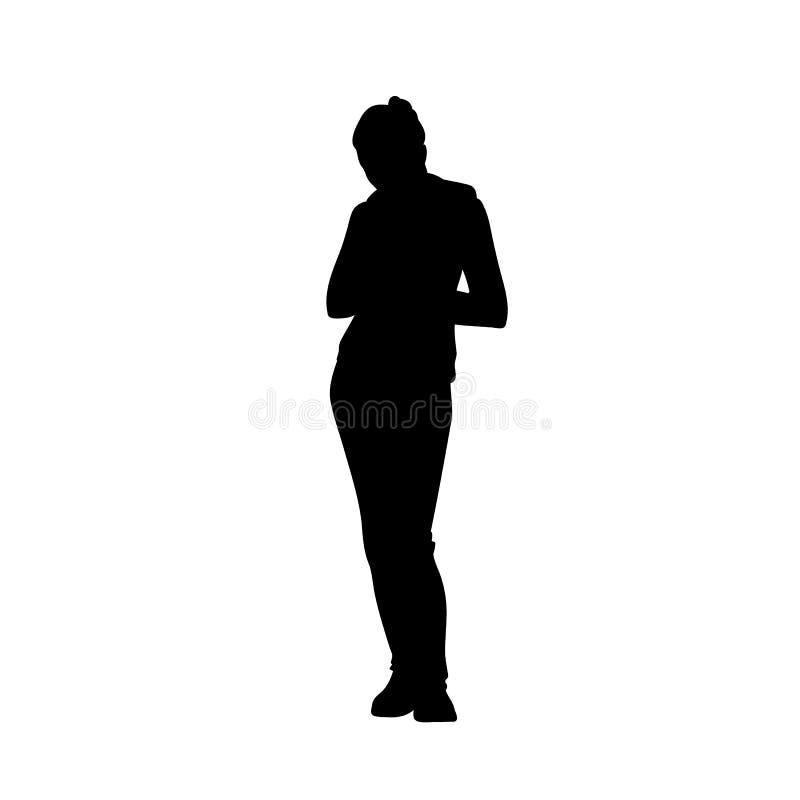 Sportieve vrouw die vooruit buigend hoofd bevinden zich Front View Zwart die silhouet op witte achtergrond wordt ge?soleerd Zacht vector illustratie