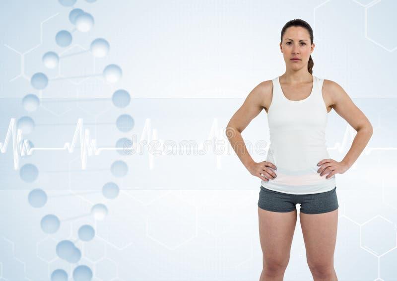 sportieve vrouw met DNA-ketting royalty-vrije stock foto