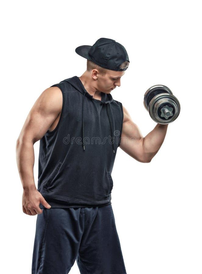 Sportif de Coutout soulevant une haltère pour former son biceps Formation de puissance Style de vie sain figure que la forme phys image stock