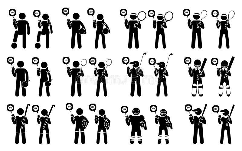 Sportif et athlètes employant les cliparts mobiles d'appli de sport illustration libre de droits