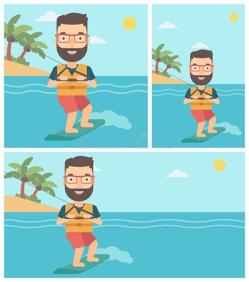 Sportif professionnel de wakeboard illustration stock