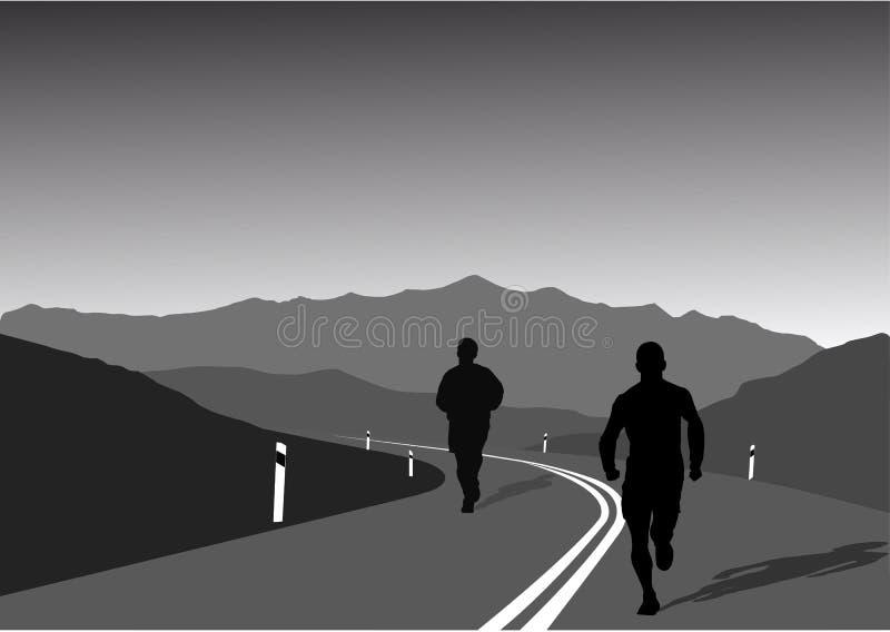 Sportifs exécutant sur la montagne illustration de vecteur