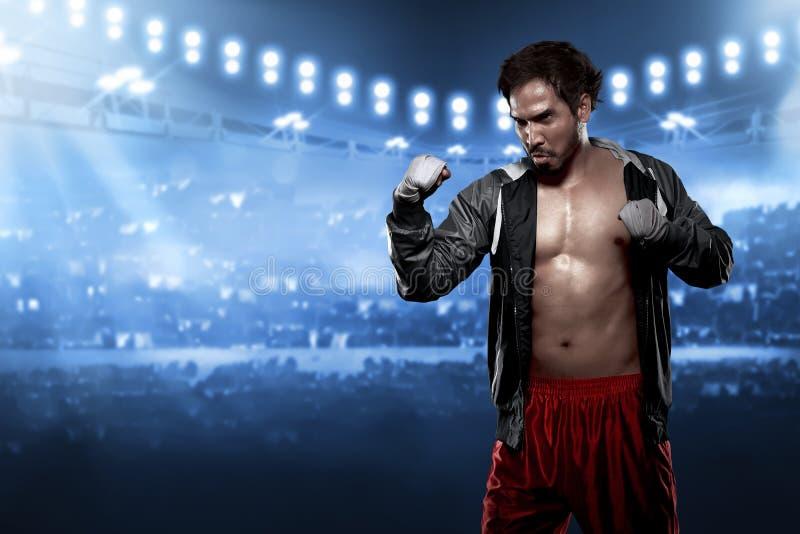 Sportig asiatisk manlig boxare med den vita remmen i hans handled royaltyfria bilder