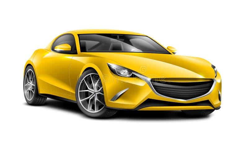 Sportig bil för gul kupé Generisk bil med glansig yttersida på vit bakgrund vektor illustrationer