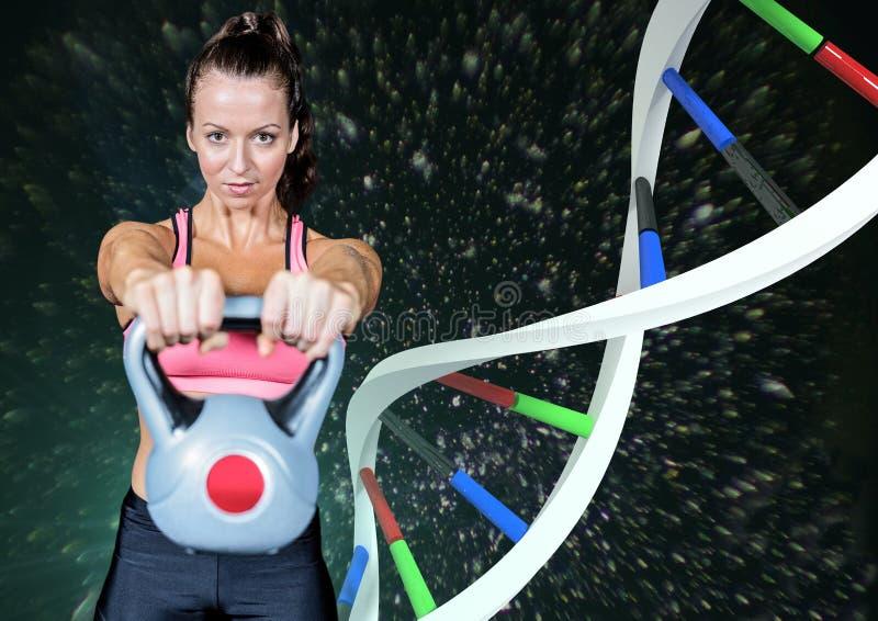 sportig kvinna med färgdna-kedjan och svartbakgrund royaltyfri foto