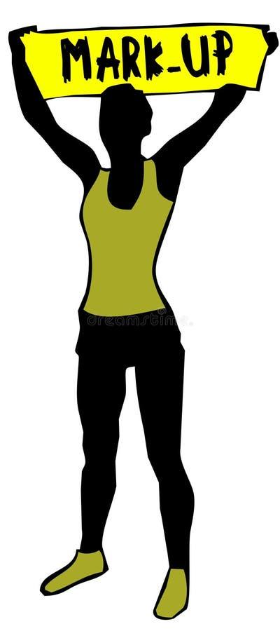 Sportig kvinnakontur som rymmer ett gult banertecken med FLÄCKEN UPP text royaltyfri illustrationer