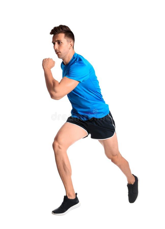Sportig spring för ung man arkivbild