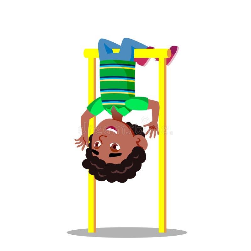 Sportiga Little Boy som hänger på illustration för tecknad film för uppochnervänd vektor för horisontalstång plan vektor illustrationer