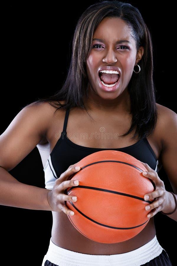 Sportigt skrika för kvinna fotografering för bildbyråer