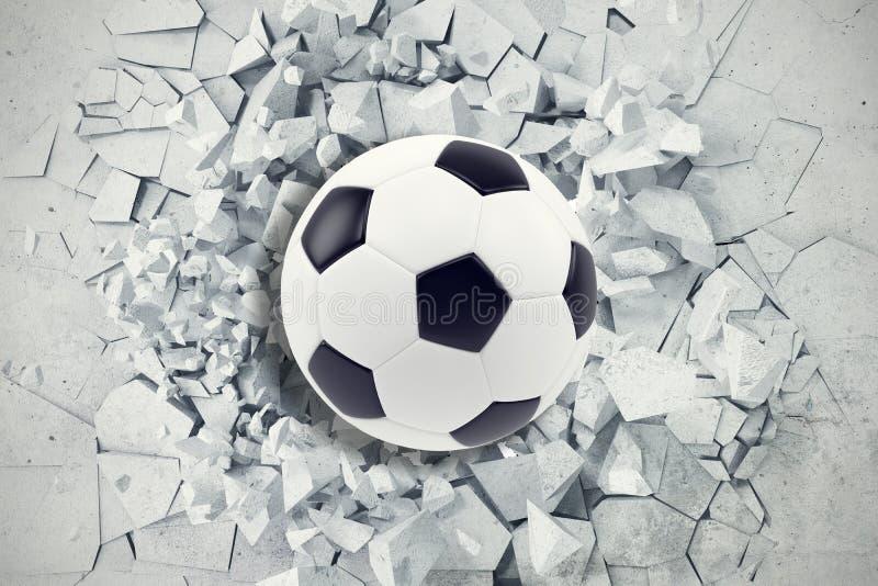 Sportillustration med fotbollbollen som kommer i sprucken vägg Sprucken konkret jordabstrakt begreppbakgrund framförande 3d vektor illustrationer