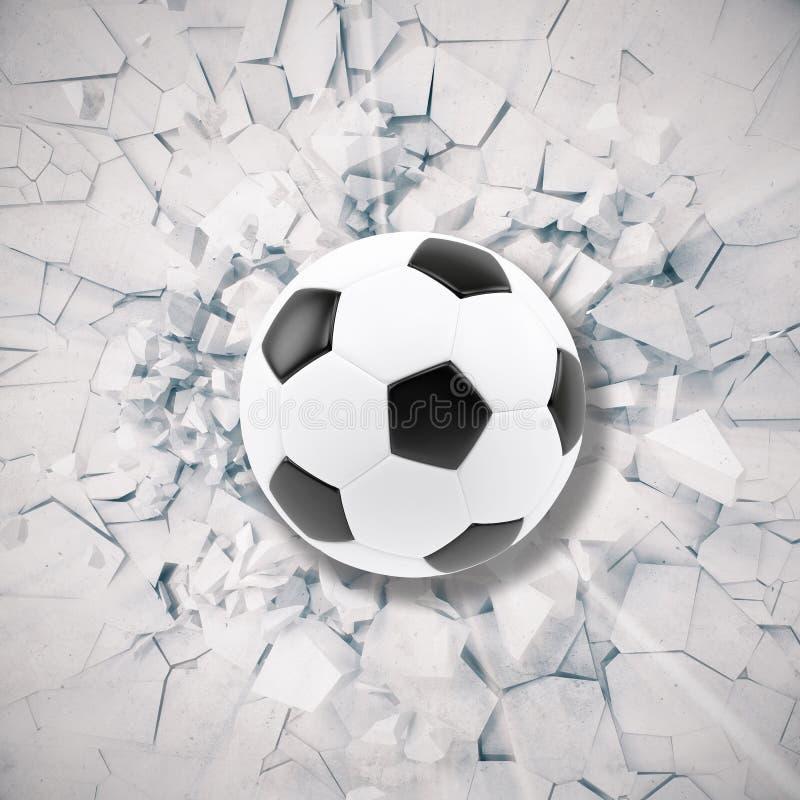 Sportillustration med fotbollbollen som kommer i sprucken vägg Sprucken konkret jordabstrakt begreppbakgrund framförande 3d royaltyfri illustrationer