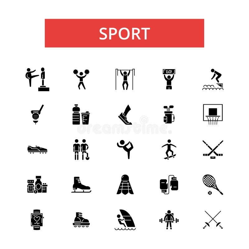 Sportillustrationen, gör linjen symboler, linjärt plant tecken, vektorsymboler tunnare stock illustrationer