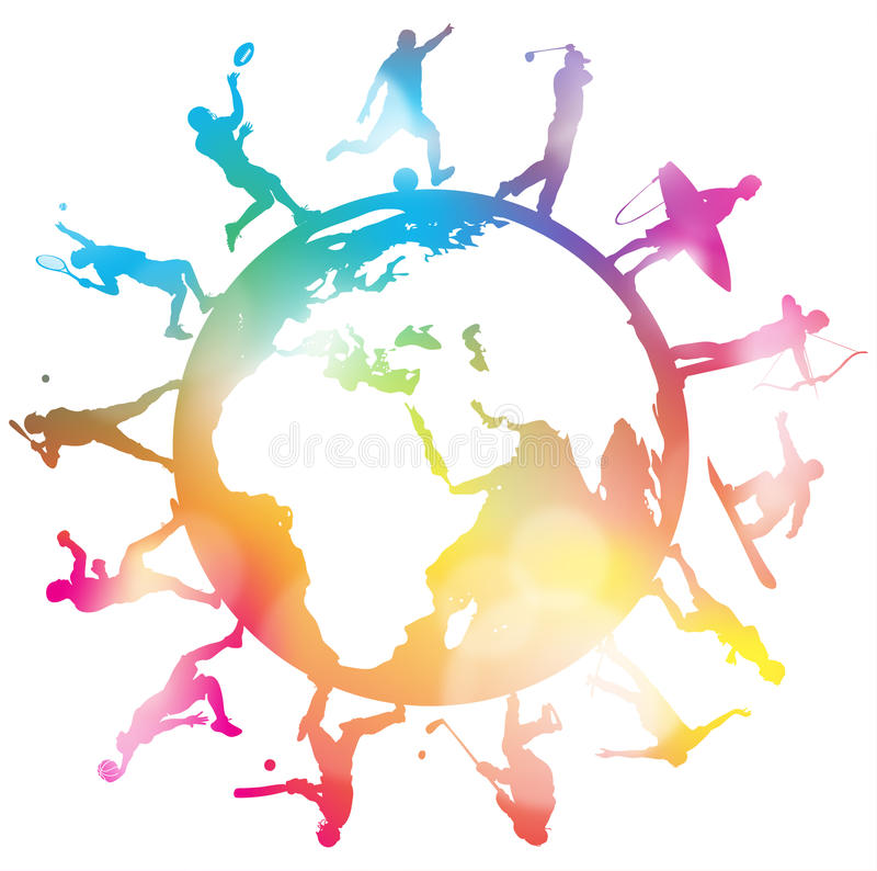 Free Sporting Globe Silhouettes Royalty Free Stock Images - 49651579