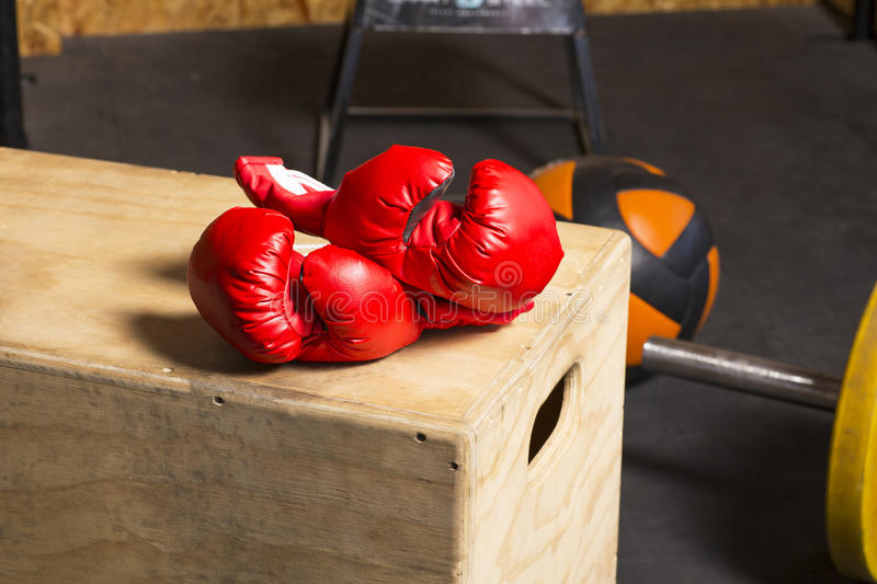 Sporting goods in a gym. Body stock images