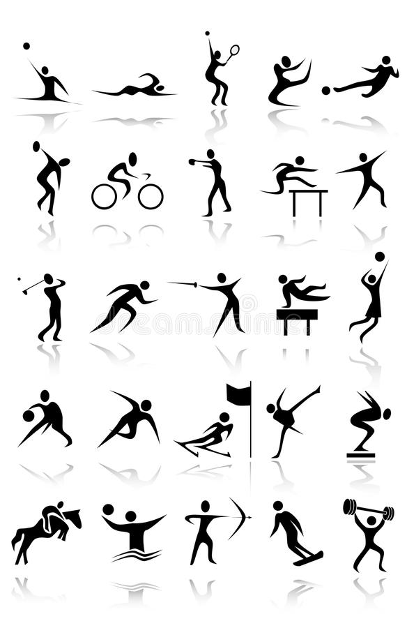 Sporting Vector black silhouettes stock photos