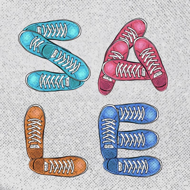 Sportingly kolorowy plakat reklamować sportów buty rabaty wektor ilustracja wektor