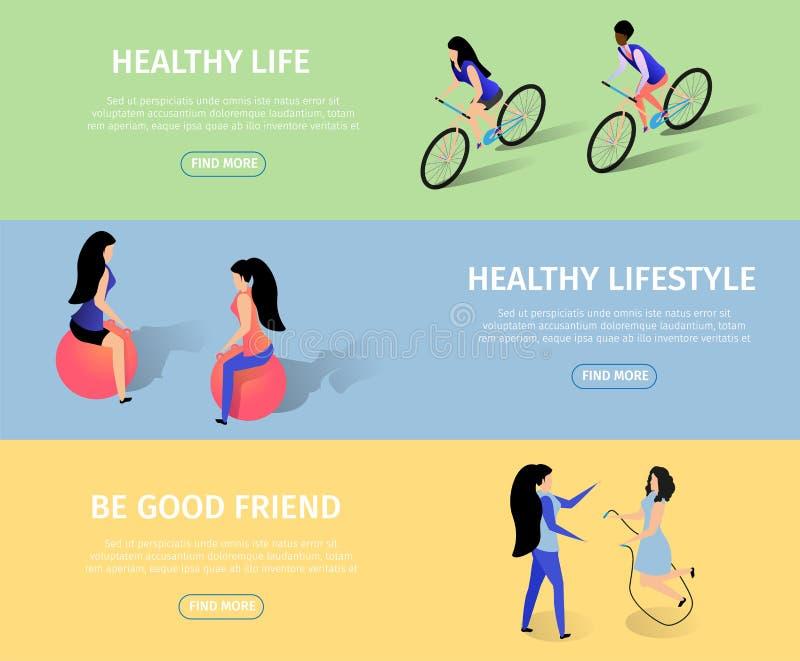 Sportish y sistema horizontal de las banderas de la amistad libre illustration