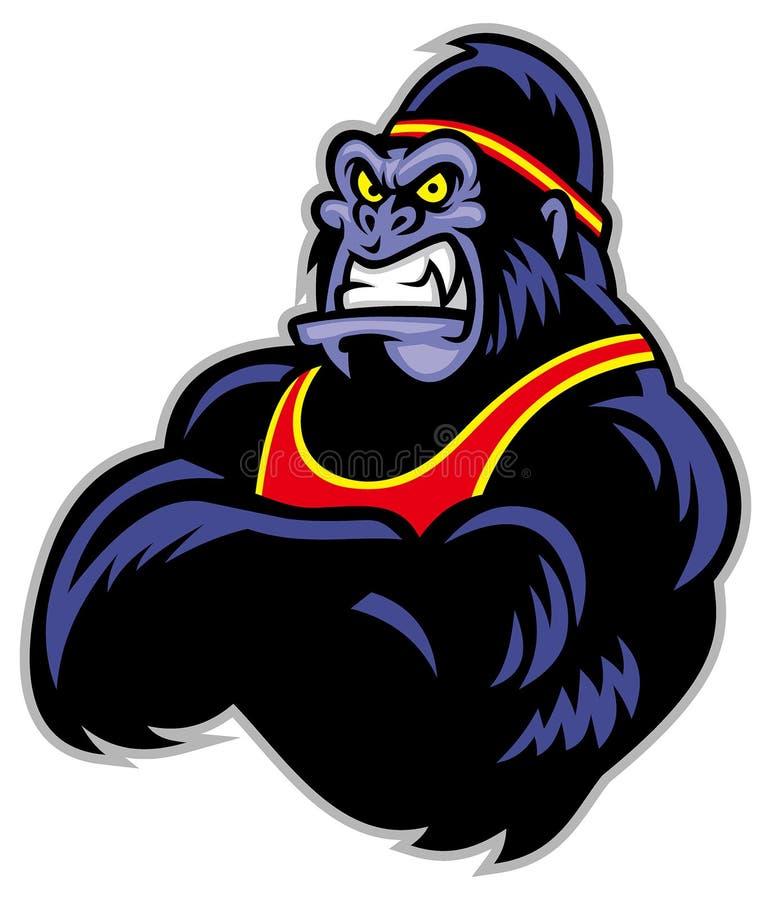 Sportiva braccio attraversato grande gorilla illustrazione vettoriale