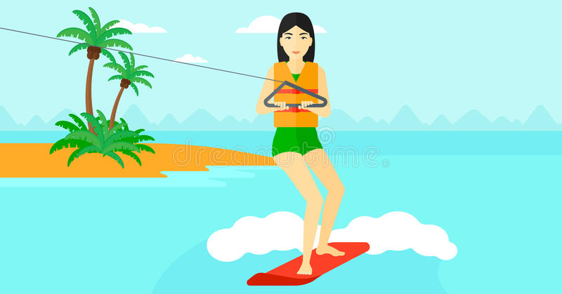 Sportiva professionale di wakeboard illustrazione di stock