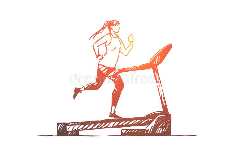 Sportiva sull'eseguire pista, giovane donna facendo uso dell'apparato di formazione per pareggiare, allenamento della pedana mobi illustrazione di stock