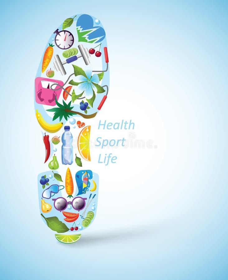 Sportive след ноги ботинка с различными элементами бесплатная иллюстрация