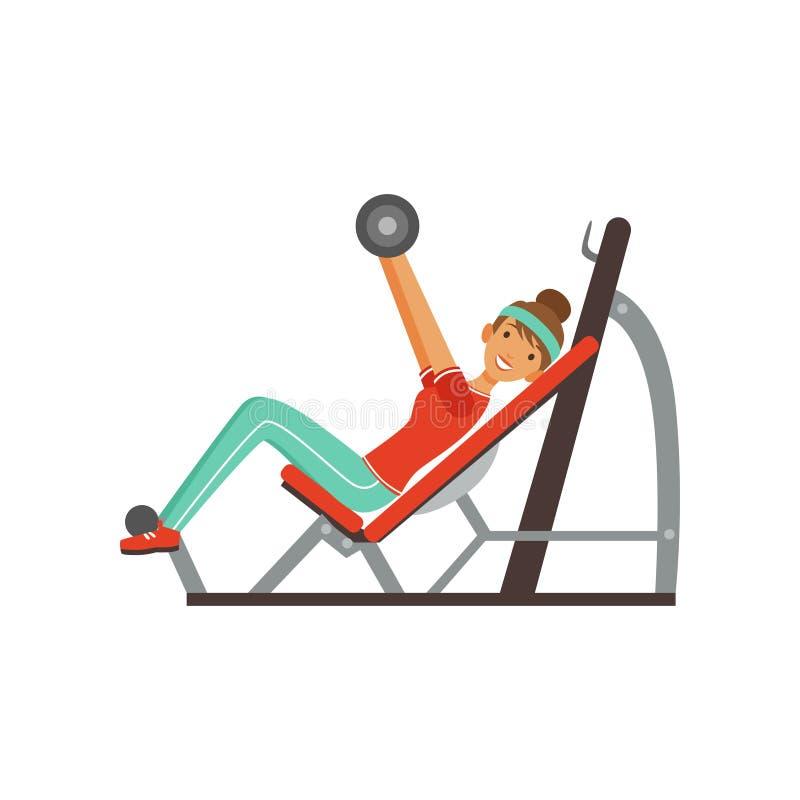 Sportive характер молодой женщины работая с штангой на жиме лёжа, девушке разрабатывая в фитнес-клубе или спортзале иллюстрация вектора