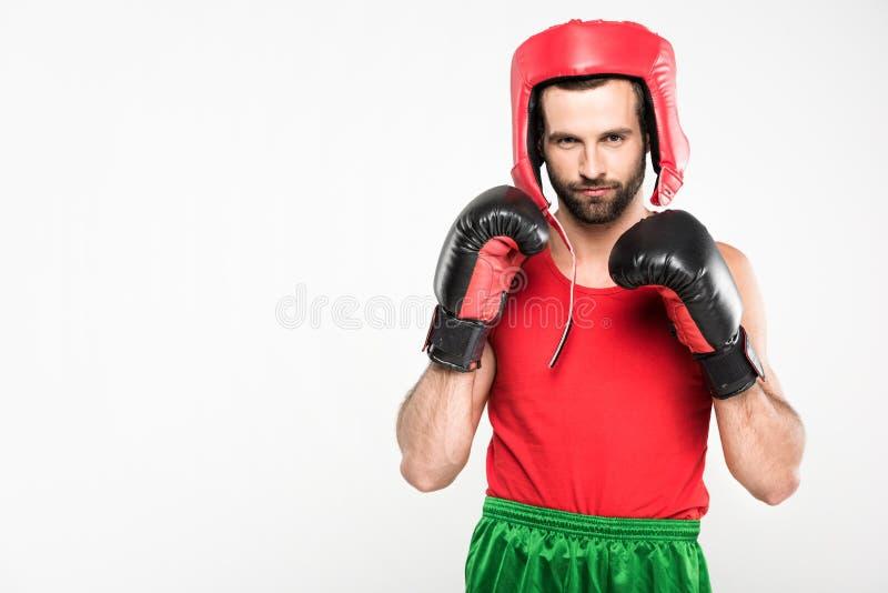 sportive bokser w retro hełmie i bokserskich rękawiczkach, obraz royalty free