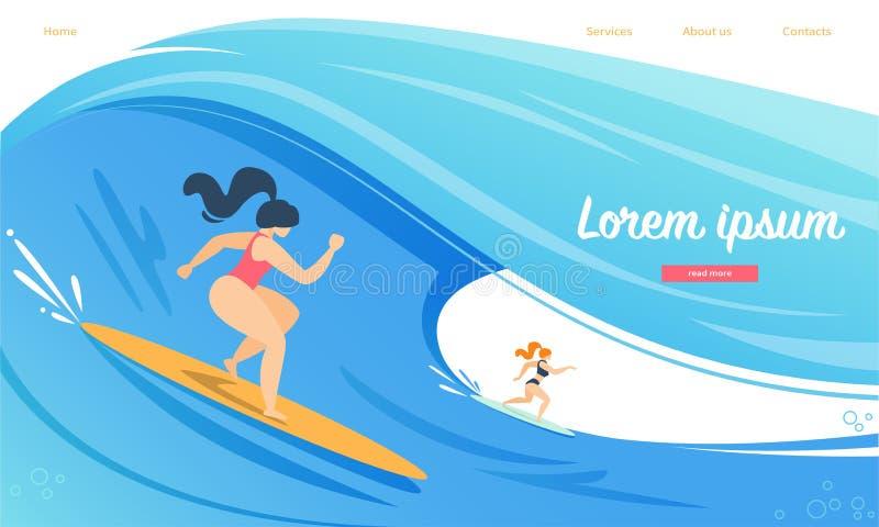 Sportive che guidano bordo praticante il surfing dalle onde di oceano illustrazione vettoriale