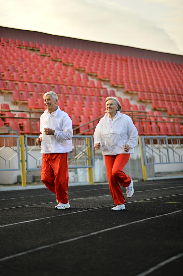 Sportive Elderly Couple Stock Photo