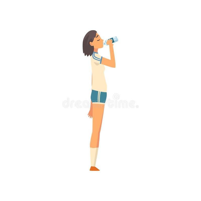 Sportive flicka som dricker nytt rent vatten från plast- flaskvektorillustration vektor illustrationer