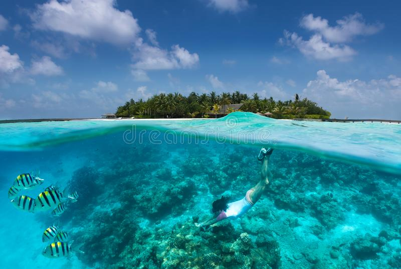 Sportive girl snorkels in turquoise waters over a coral reef in the Maldives royalty free stock photos